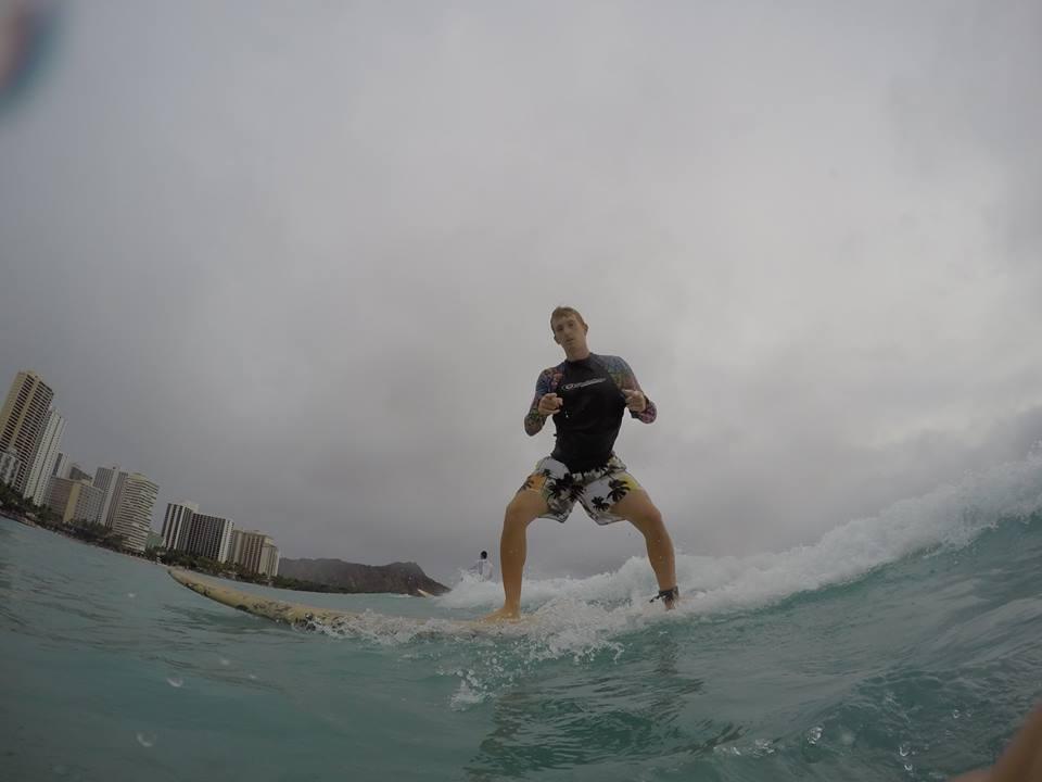 Justin S surfing